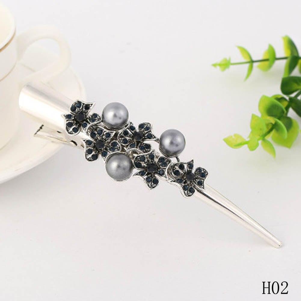 Fashion Women Girls Elegant Crystal Rhinestone Pearl Barrettes Hair Clips Clamp Hair Accessories Hairpins