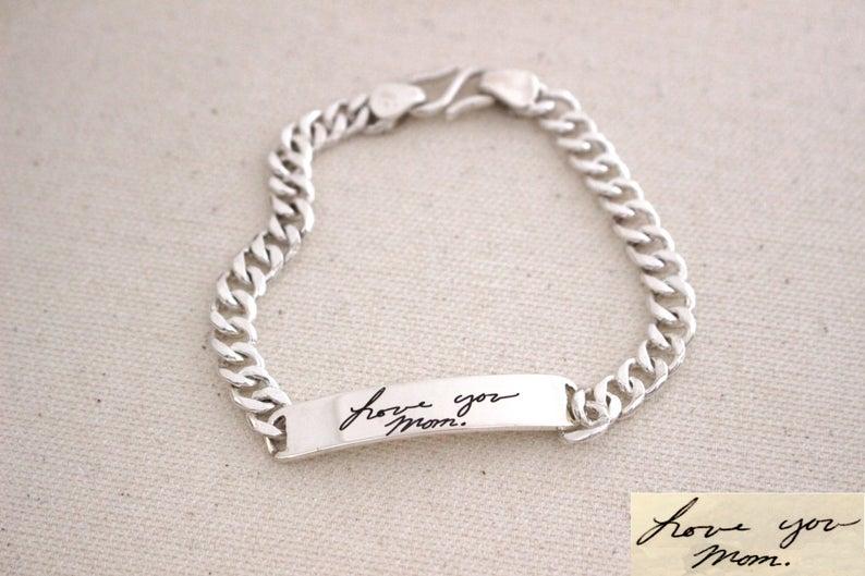 3UMeter Men Signature Naem Bracelet Memorial Men Handwriting Custom Bracelet Handwriting Jewelry Bangle for Men Gift for Him