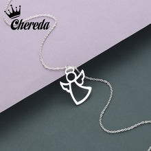 Chereda Angle Stainless Steel Necklace Pendant For Women Elegant Clavicle Wedding Jewelry Wholesale Gift