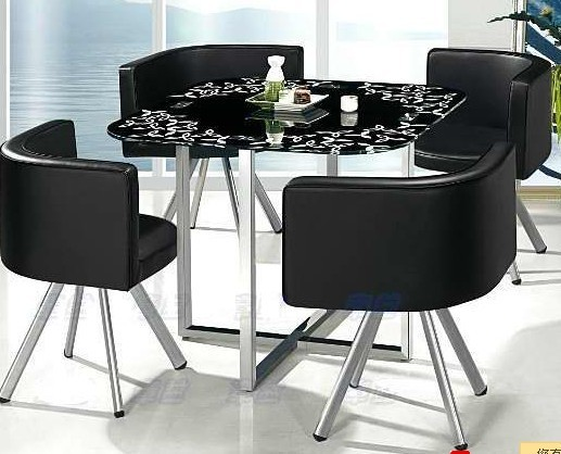 Table And Four Chairs And Coffee Station Square Glass Dining Table