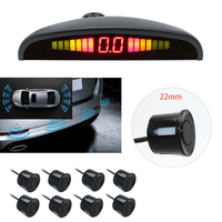 Fonwoon Front and Rear Parking Sensors For Car Reversing Radar Detector Parktronic 8 Waterproof Sensors Kit LED Display 4 Colors