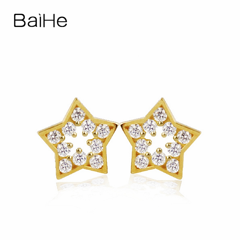 BAIHE Solid 18K Yellow Gold 0.01CT H/SI Round 100% Genuine Natural Diamonds Wedding Trendy Jewelry Elegant Unique Stud Earrings solid 18k rose gold unique stud earrings for women si h 100% natural diamonds earrings unique trendy party fine jewelry