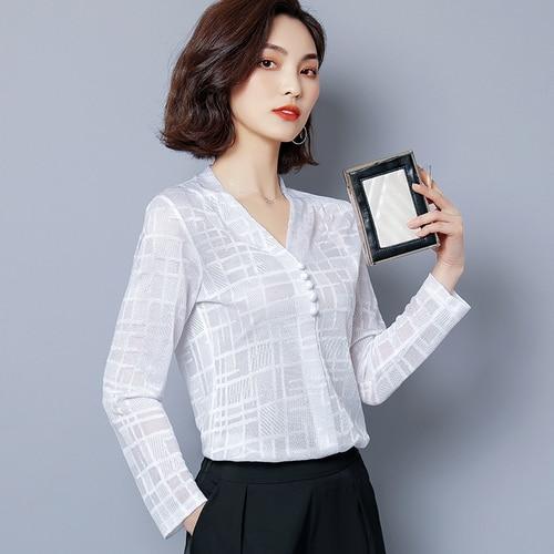 I443497 haut pour femme chemisier en mousseline de soie femmes chemise blusas femininas