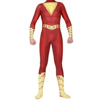 Shazam Cosplay Costume Captain Marvel Billy Batson Jumpsuit Costumes Marvel Suit Superhero Halloween Carnival Costumes