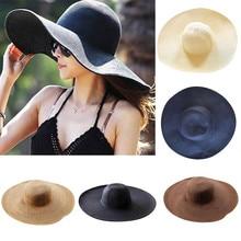 Женская пляжная кепка, одноцветная соломенная шляпа с большими полями, широкополая шляпа от солнца, шляпы с широкими полями, пляжная кепка для улицы, Chapeu Feminino#3