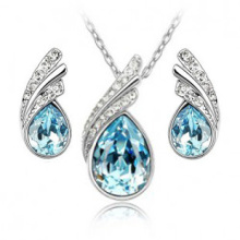 Fashion Austria Crystal Water drop Leaves Earrings necklace jewelry sets Classic Crystal Water drop jewelry sets