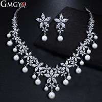 GMGYQ Trendy Imitate Pearl Jewelry Fashion Bride AAA Cubic Zircon Earrings Necklace Set Factory Wholesale Sales