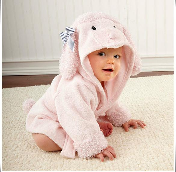 Girl boy bathing baby pink sheep bathrobe cotton suction soft antibacterial bath towel Free shipping