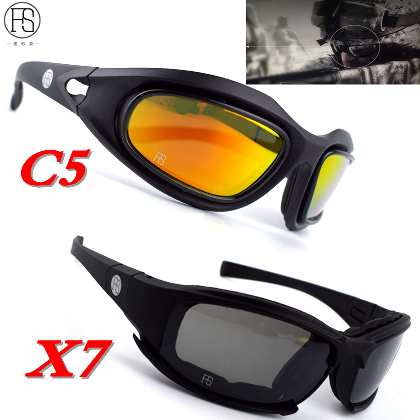 X7 Occhiali Mens Militare Occhiali Da Sole Polarizzati C5 Airsoft Tiro Occhiali Del Motociclo Tattico Occhiali di Protezione Per Escursione di Campeggio di Caccia