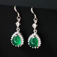 925 Brand Of Pure Natural Green Chalcedony Hook Earrings Silver Jewelry