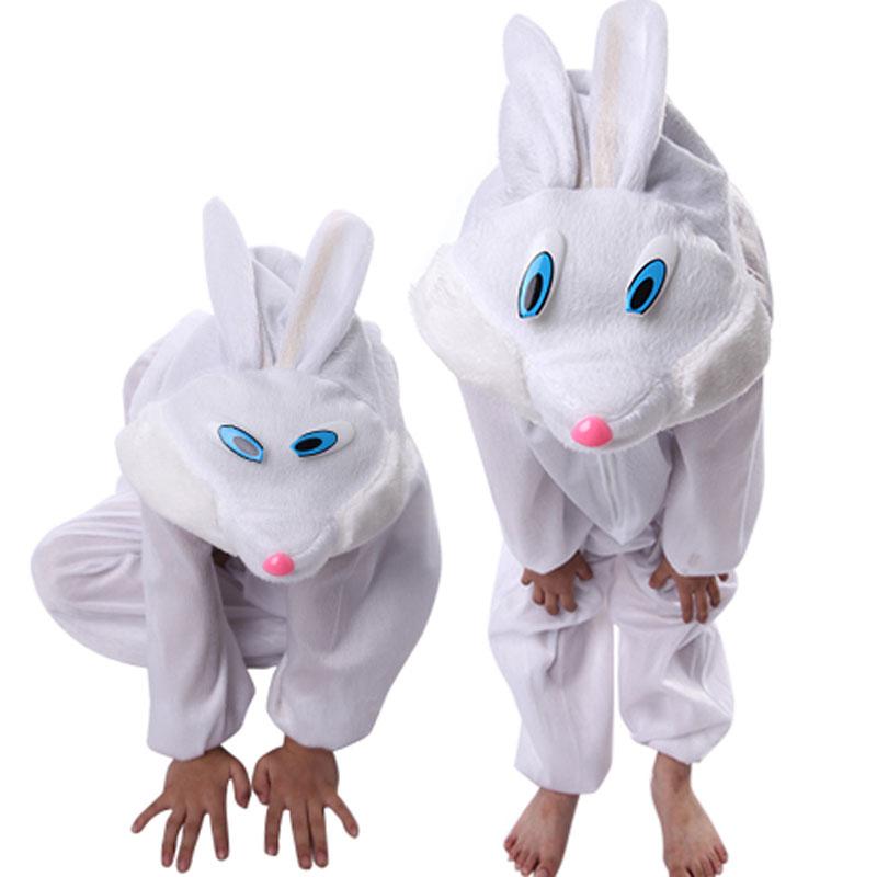 Umorden gyerekek gyerek lány fiú állati fehér nyúl ruha Cosplay - Jelmezek - Fénykép 2