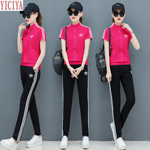 Pink Sets 2019 Summer Two Piece Outfits Tracksuits for Women Wide Pants Suits and Top Sportswear Co-ord Set Plus Size Clothing