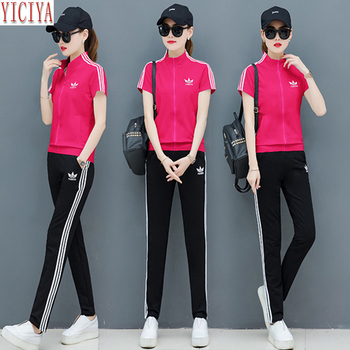 Pink Sets 2020 Summer Two Piece Outfits Tracksuits for Women Wide Pants Suits and Top Sportswear Co-ord Set Plus Size Clothing pink shining tracksuits women two piece set spring plus size hoodie top and pants set suits casual bodcon 2 piece set
