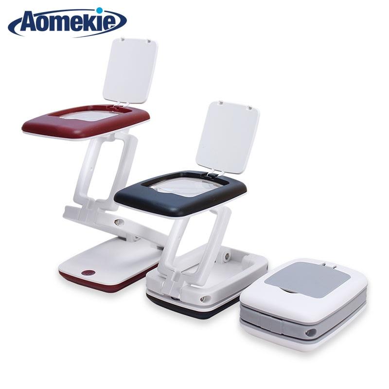Összecsukható 3X nagyítóval rendelkező HD objektív 9LED kompakt asztali lámpa, nagyméretű nagyító nagyítóval, olvasáshoz, látást segítő eszköz