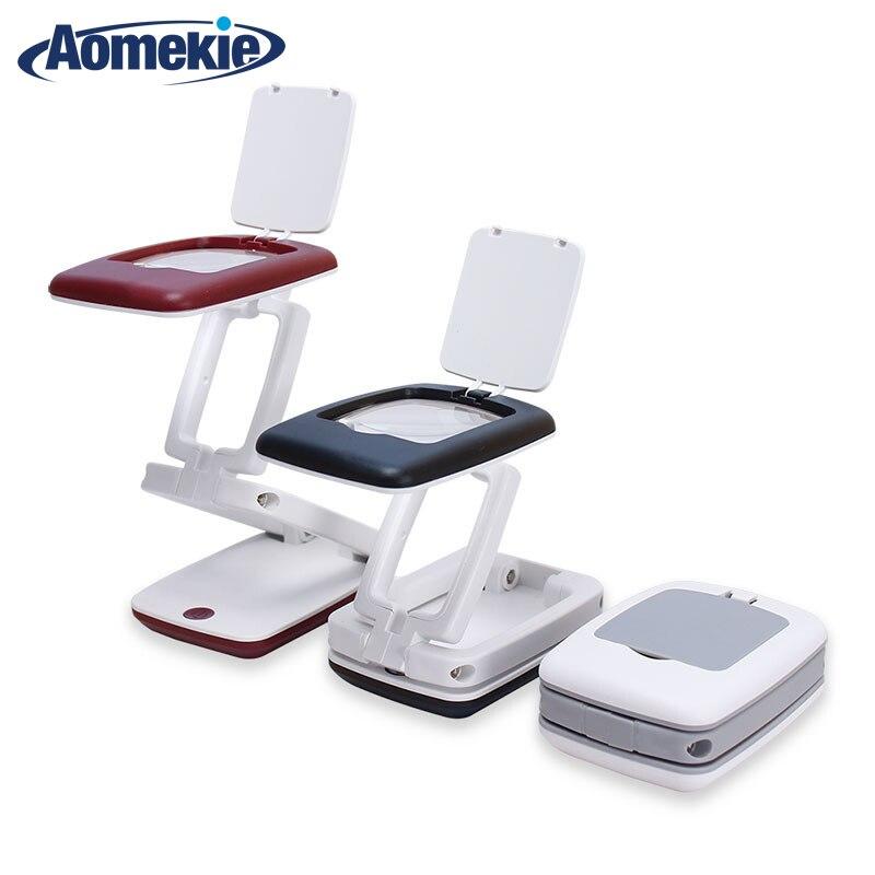 Lupa plegable de escritorio 3X lupa LED compacta lámpara de escritorio lupa multifunción lupa para leer escritura 4 colores