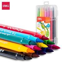 Deli EC103 Soft Drawing Felt Pen 12/24 Color Brush Pen Felt-Tip Pen Drawing Painting Watercolor Art Marker Pens School Supplies