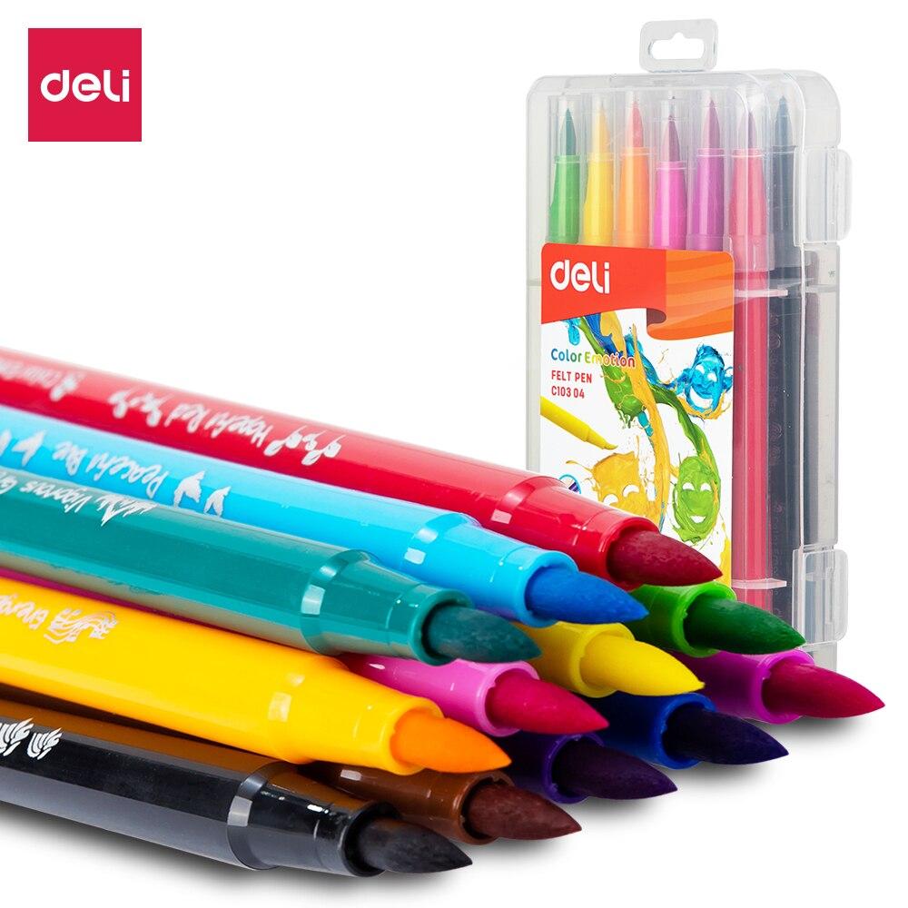 Deli Soft Drawing Felt Pen 1.0-8.0mm Bright 12 Color 24 Color EC10304 EC10324