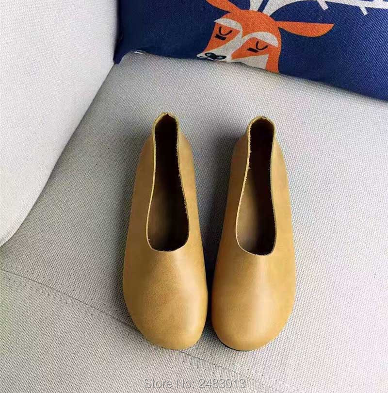 17c589fa7dded SexeMara Handmade Women Genuine Leather Shoes Simple style soft Cowhide  brown flat Ladies Shoes Comfortable Driving female Shoes-in Women's Flats  from Shoes ...