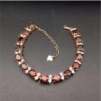 Garnet chain bracelet Free shipping Real natural red garnet 925 sterling silver Luxury bracelets Gem Size 5*7mm 15pcs