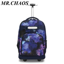 Brand Creative backpack waterproof luggage Fashion 18 inches students knapsack Travel multifunctional suitcase men business bag(China)