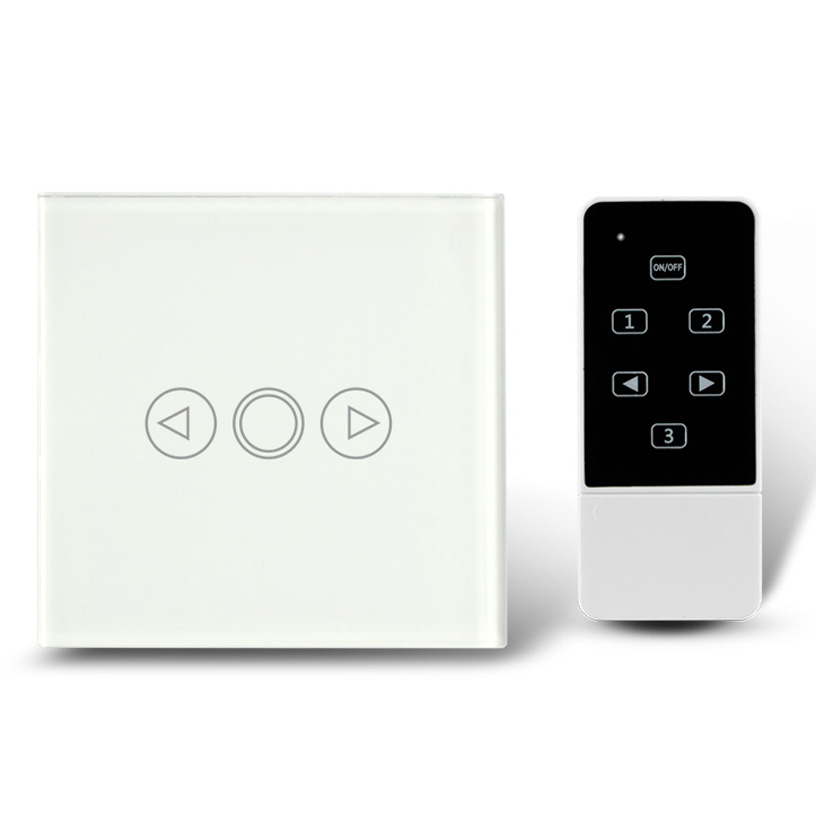 Wall Light Touch Remote Dimmer Switch White Crystal Glass Panel Electrical Switches 1 Gang 1 Way-- UK Standard smart home 1gang1way golden crystal glass panel eu standard remote touch dimmer switches led wall light dimmer remote switch