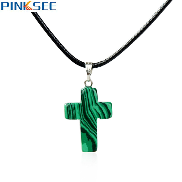 Trendy natural stone cross pendant necklace choker for women black trendy natural stone cross pendant necklace choker for women black leather chain collar maxi necklace men aloadofball Image collections