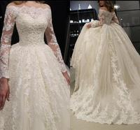 Graceful ball gown ivory lace appliques beaded puffy long sleeve wedding dress modest princess plus size luxury wedding gowns