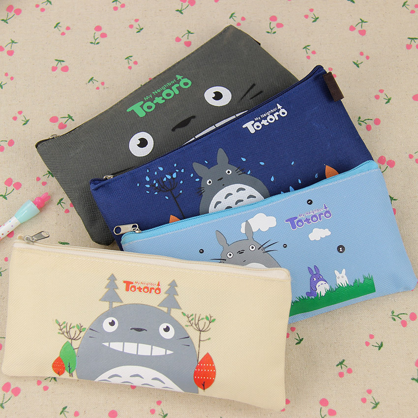 1PC Kawaii Novelty Simulation Cartoon Totoro Pencil Case Soft Cloth School Stationery Pen Bag Gift For Girl Boy Student