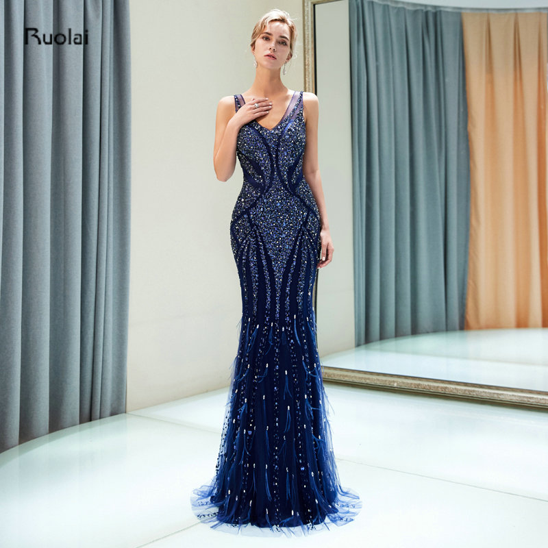 vestidos de fiesta Navy Blue Mermaid Luxury Evening Dress Long 2018 Heavy Beaded Arabic Evening Gowns Formal Party Dress