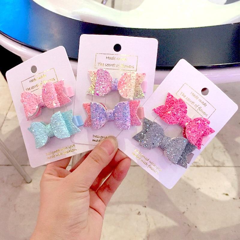 2pcs/set Cute Mini Little Girls Hair Bows Clips Double Layer Glitter Kids Hairpins Sequins Princess Headdress Accessories