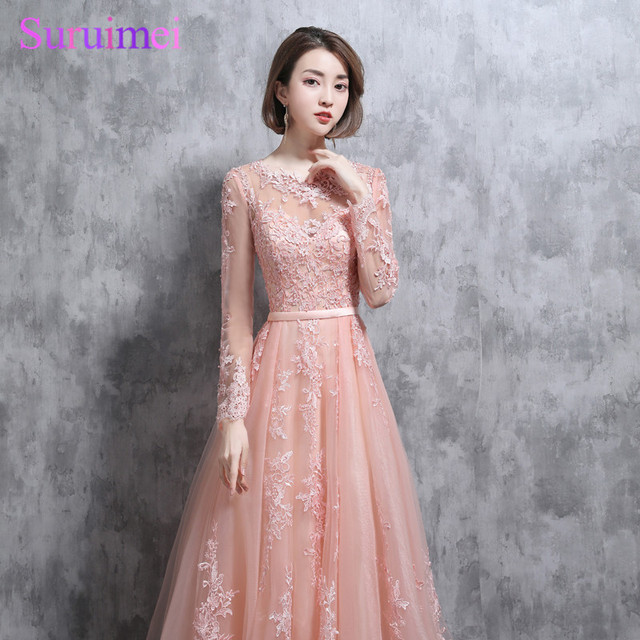 Real Photo Long Sleeves Bridesmaid Dresses High Neck Lace Applique Tulle Pearl Pink See Through Brides Maid Of Honor Dresses