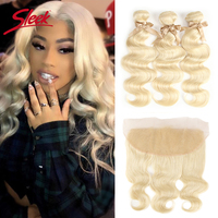 Sleek 613 Honey Blonde Bundles With Frontal Human Hair Bundles Blonde Brazilian Body Wave Hair 3/4 Bundles With Frontal Closure