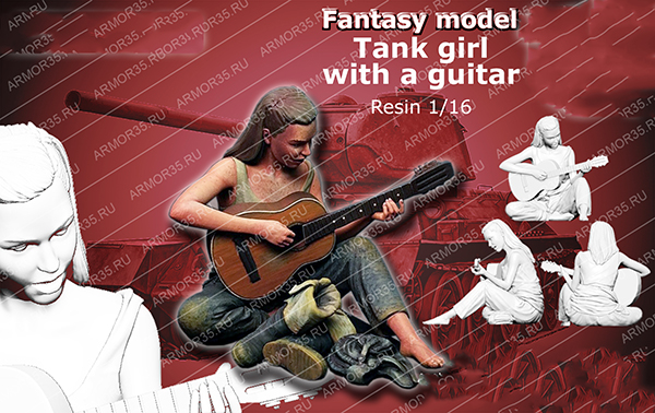 1/16 Scale Assembly Resin Figure Kit Tank Girl Playing Guitar 120mm Model Building Kits