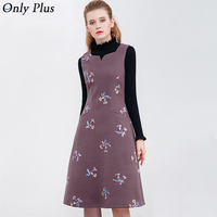 ONLY PLUS Women Winter Woolen Dresses Embroidery High Quality Sleeveless Purple Flower Dress Fashion Women S