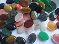 10pcs Natural Stone Round Oval Mixed Red white Blue Colorful Cabochon Dome Flat Back Many size for Tray Pendant Cover