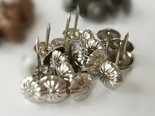 (500PCS/PACK) 11MM *17MM Silver Flower Top Face Pins Nails Iron Buttons