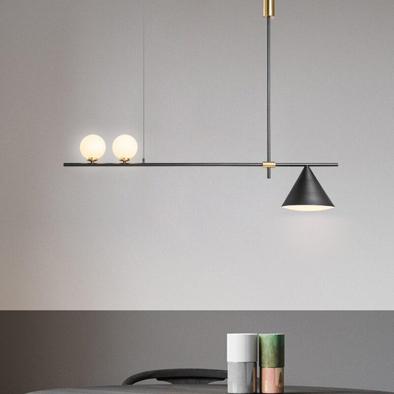 Современная стеклянная подвеска света скандинавские обеденные Кухонные светильники дизайнерские подвесные лампы Avize Lustre освещение черный