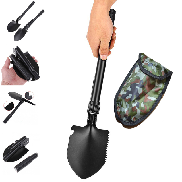 Multi-function Military Portable Folding Camping Shovel Survival Spade Pick Emergency Outdoor Tool