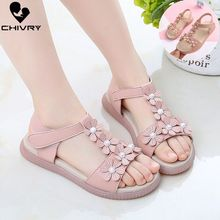 Chivry 2019 New Summer Children Girls Sandals Soft Leather Flowers Princess Girls Shoes Kids Baby Beach Flat Sandals Shoes