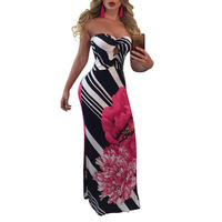 Summer Dress Women Dress Casual Cotton Line Dress Print Sweetheart Print Plus Size Long Women Dresses