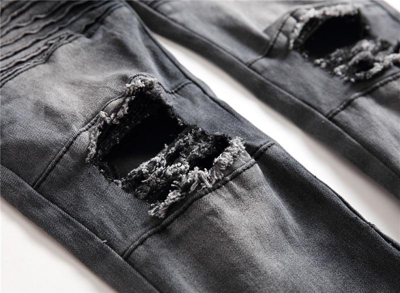 DANT BULUN Men Jeans Runway Slim Racer Ripped Biker Jeans Fashion Hip Hop Casual Skinny Zipper Hole Jeans for Men,PY8855