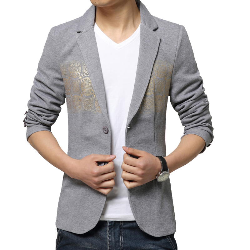 L-3XL 2016 Spring Men Blazer Floral Suits men Slim Casual suit jackets male Fashion Outwear Blazers mens jacket Gray Black - LONMMY Store store