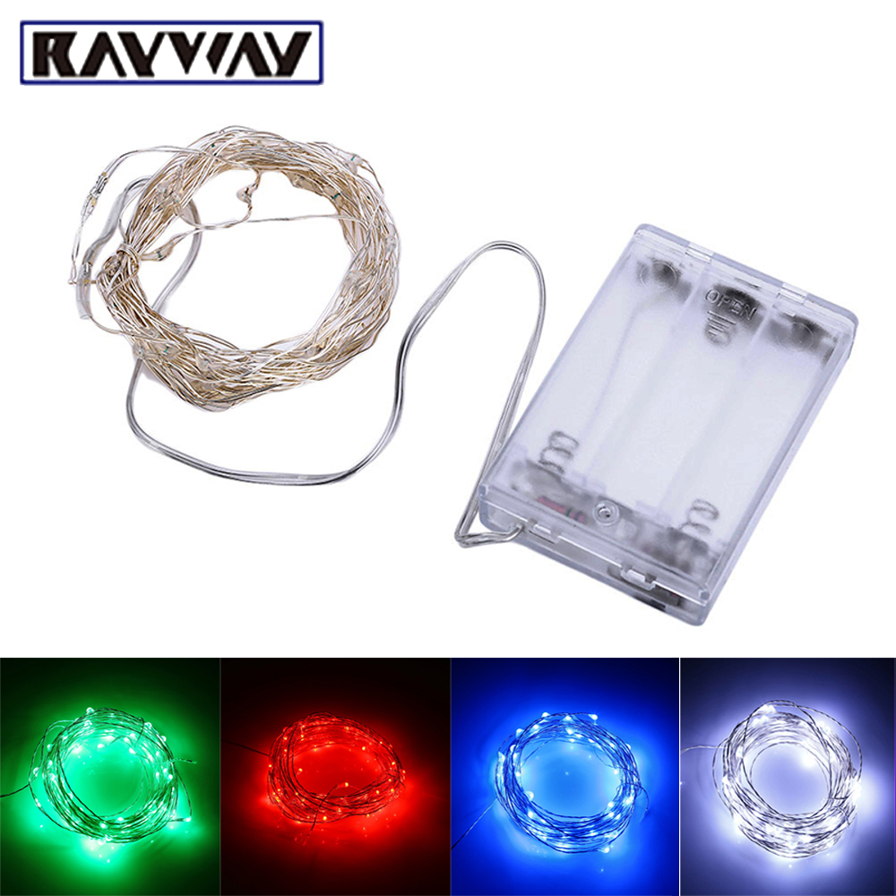 RAYWAY 5M 50LED Waterproof LED String Light AA Battery Powered Party Wedding Light Strip Silver Wire Outdoor Decoration Lighting