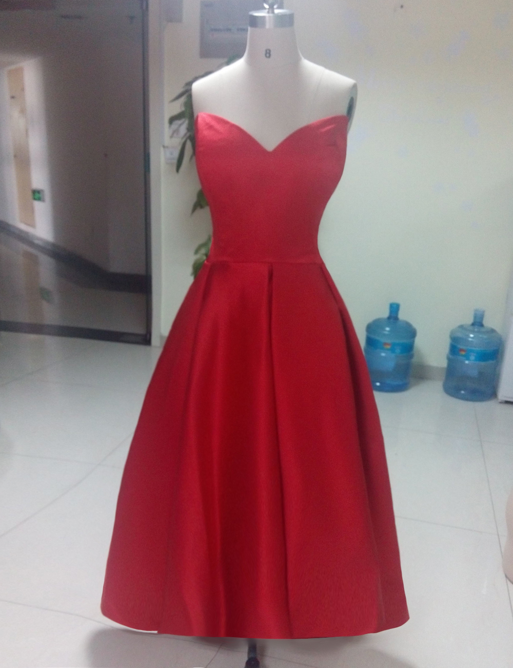 Hot Red   Prom     Dress   Short Front Long Back vestidos de gala 2015 Sweetheart Elegant   Dress   For   Prom   Party Gown Free Shipping LG739