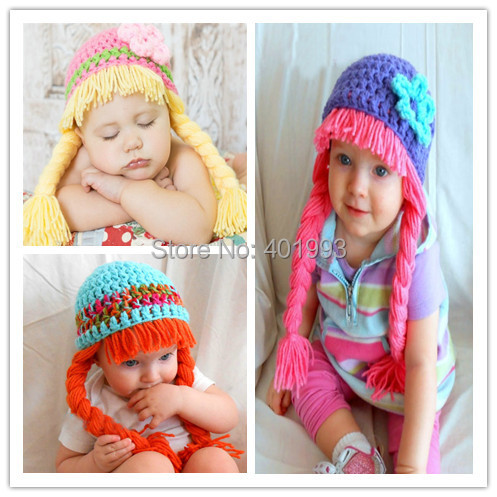 Crochet Baby Girl Hat Cabbage Patch Wig Halloween Costume For Kids