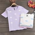 Algodón 2017 Verano Estudiante Kawaii Tee Impresión Mujeres Lindas Rosadas Nubes Harajuku Camisetas Señoritas Encantadoras Tops TS021