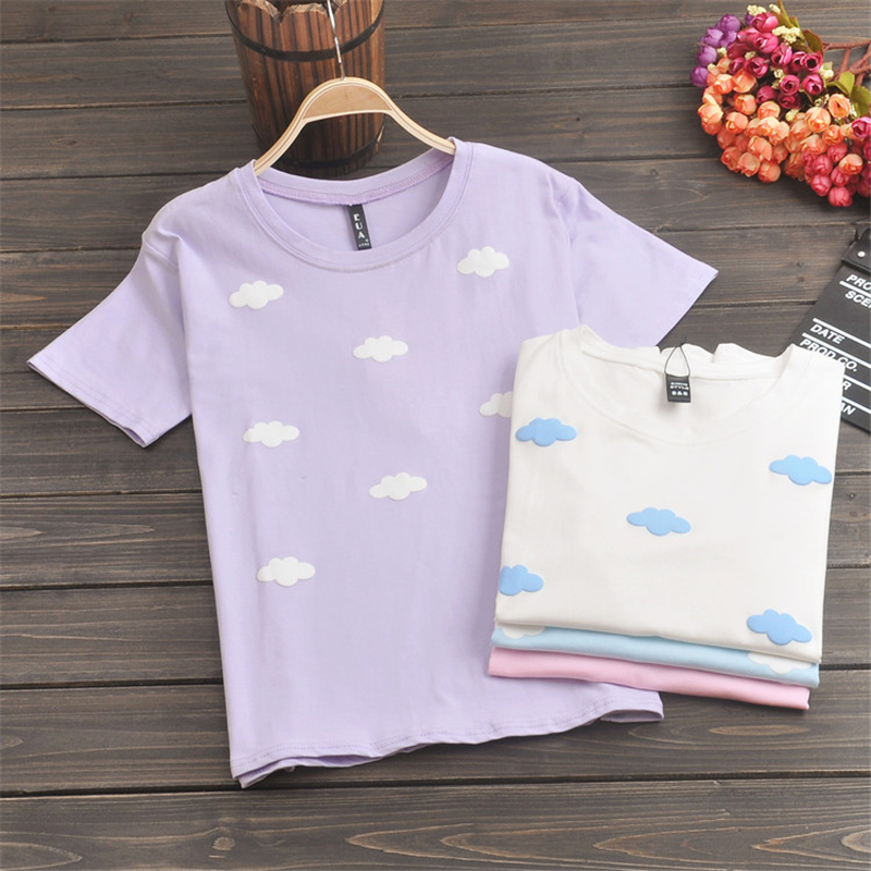 Buy cotton 2017 summer kawaii student for Cute summer t shirts