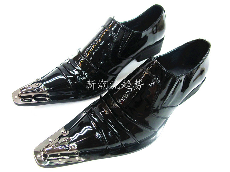 new brand european style mental pointed toe shine black genuine leather shoes  men oxford wedding party mens italian dress shoes-in Women s Flats from  Shoes ...