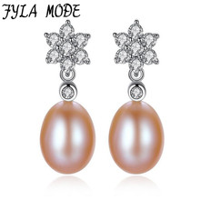 Wholesale Brand 100% Authentic 925 Sterling Silver Pearl Stud Earrings With Clear CZ For Women Luxury Flower Earring Jewelry