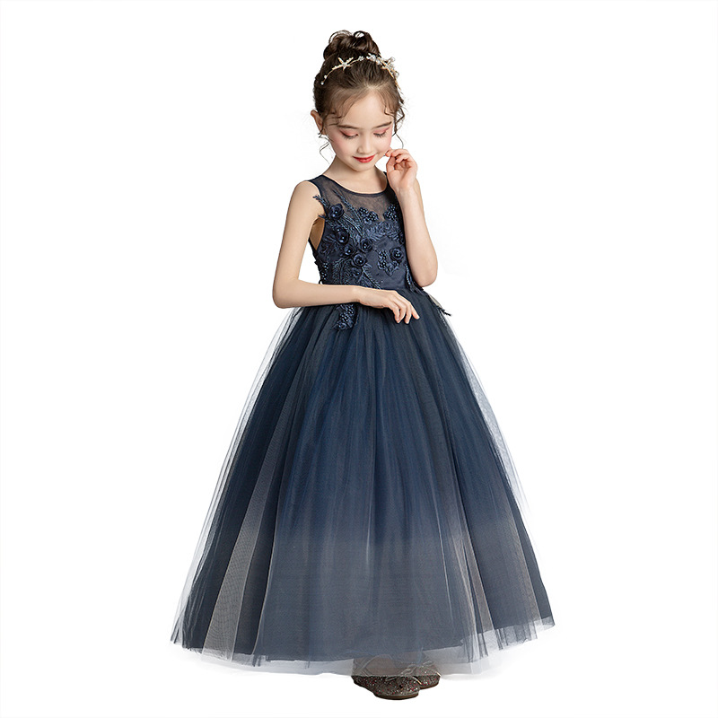 Teen girl princess dress summer girls dark blue long dress Europe and America Kids costumes Big girl evening wedding Party dress